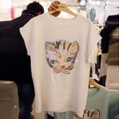 ราคา หลวมฤดูร้อนใหม่สีขาวเลื่อมเสื้อยืด สีขาว เป็นต้นฉบับ