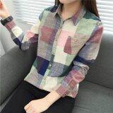 ซื้อ Looesn เกาหลีฤดูใบไม้ผลิและฤดูใบไม้ร่วงใหม่เสื้อลายสก๊อต สีเขียว ใหม่