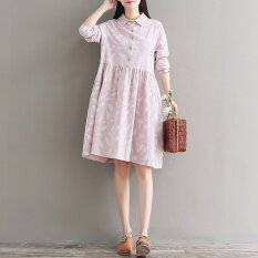ขาย หลวมวรรณกรรมผ้าฝ้ายและผ้าลินินใหม่บางพิมพ์ชุดเดรส สีชมพู ฮ่องกง ถูก