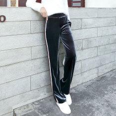 โปรโมชั่น Looesn ย้อนยุคกำมะหยี่ทองหญิงตรงกางเกงขากว้างกางเกง สีเทา ใน ฮ่องกง