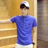 ส่วนลด เสื้อหลวมเสื้อยืดปุ่มครึ่งเสื้อคอปก ทะเลสาบสีฟ้า ฮ่องกง