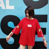 ซื้อ ฮาราจูกุเสื้อยืดฤดูร้อนหลวมเสื้อเกาหลีหญิง สีแดง 6625 ฮ่องกง