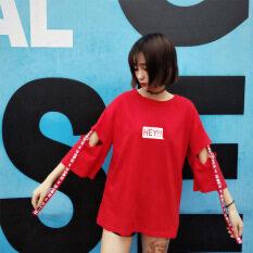 ราคา ฮาราจูกุเสื้อยืดฤดูร้อนหลวมเสื้อเกาหลีหญิง สีแดง 6625 ใหม่