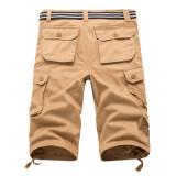 Looesn ผ้าฝ้ายชายฤดูร้อนส่วนบางห้ากางเกงกางเกงขาสั้น 7 นาทีสีกากี ถูก