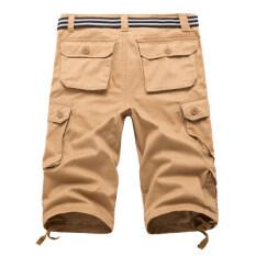 ราคา Looesn ผ้าฝ้ายชายฤดูร้อนส่วนบางห้ากางเกงกางเกงขาสั้น 7 นาทีสีกากี ที่สุด