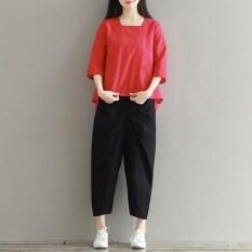 ขาย หลวมเสนหญิงผ้าลินินไซส์พิเศษไซส์ใหญ่พิเศษเสื้อสวมหัวเสื้อผ้าฝ้ายเสื้อ สีแดง ราคาถูกที่สุด