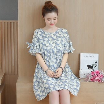 ชุดเดรสคลุมเข่าหญิงตั้งครรภ์ แขนสั้น ขนาดใหญ่ ใส่สบาย สไตล์เกาหลี (สีฟ้า) (สีฟ้า)