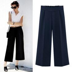 ขาย ซื้อ Looesn ลำลองผ้าชีฟองเอวสูงส่วนบางกางเกง กางเกงสีดำ