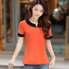 ทบทวน เกาหลีผ้าฝ้ายหญิงหลวมเสื้อแขนสั้นสีทึบเสื้อยืด สีส้ม สีส้ม Unbranded Generic