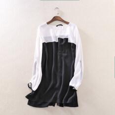 ซื้อ เสื้อลำลองเสื้อยืดผ้าชีฟองและส่วนยาวนางสาว สีขาวสีดำสะกด ถูก