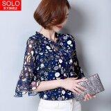 โปรโมชั่น เสื้อชีฟองเกาหลีฤดูร้อนใหม่หลวม สีฟ้า ถูก