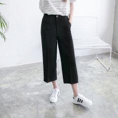 ราคา หลวมส่วนบางเป็นเอวบางเจ็ดกางเกงยีนส์ตรงกางเกงลำลองชุดสูทกางเกงขากว้าง สีดำ สีดำ ราคาถูกที่สุด