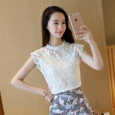 ซื้อ หลวมเกาหลีผอมเสื้อแขนกุดเสื้อลูกไม้ สีขาว ใหม่ล่าสุด