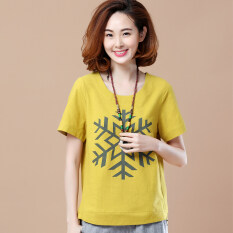 ขาย Ruo Fen เสื้อยืดผู้หญิงคอกลมแขนสั้นทรงโอเวอร์ไซส์มีพิมพ์ลาย เกล็ดหิมะวรรคขิงสีเหลือง เกล็ดหิมะวรรคขิงสีเหลือง Unbranded Generic