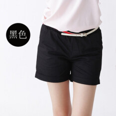 ส่วนลด กางเกงขาสั้นลำลองกางเกงขาสั้นผ้าฝ้ายสีทึบนางสาว สีดำ