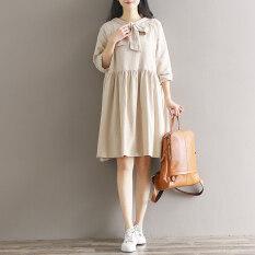ขาย หญิงกระโปรงฤดูใบไม้ร่วงใหม่แต่งกายย้อนยุคผ้าฝ้ายลม แอปริคอทสีขาว Unbranded Generic เป็นต้นฉบับ