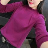เสื้อยืดชั้นในแขนยาวของผู้หญิง สไตล์เกาหลี สีม่วง สีม่วง เป็นต้นฉบับ
