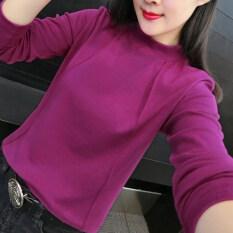 ราคา เสื้อยืดชั้นในแขนยาวของผู้หญิง สไตล์เกาหลี สีม่วง สีม่วง ฮ่องกง