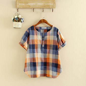 เสื้อยึดลายสก๊อต ผู้หญิง ผ้าฝ้ายผสมฝ้ายลินิน สไตล์เกาหลีสีส้ม/สีกากี (สีส้ม)