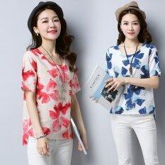 ราคา หลวมแขนสั้นพิมพ์ผ้าฝ้ายเอเชียเสื้อ สีฟ้า Other
