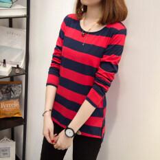 ราคา เสื้อยืดผู้หญิงคอกลมแขนยาวลายขวางสไตล์เกาหลี ผ้าฝ้าย สีแดง สีแดง ที่สุด