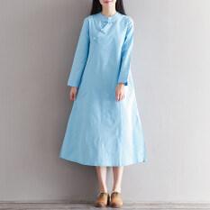 ราคา หลวมวรรณกรรมฝ้ายใหม่ยืนขึ้นปกชุด สีฟ้า สีฟ้า ใน ฮ่องกง
