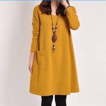 LOOESN การ์ตูนปลูกฝังส่วนยาวแขนยาวชุดเดรสชุด (904 สีเหลืองแขนยาวสำหรับหญิงตั้งครรภ์)