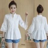 ขาย ซื้อ เสื้อเชิ้ตผ้าลินินสีขาว คอวี ของผู้หญิง สไตล์เกาหลี สีขาว สีขาว