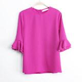 ราคา หลวมเกาหลีสีทึบคอกลมเสื้อชีฟองผ้าชีฟองเสื้อ กุหลาบสีม่วง เป็นต้นฉบับ