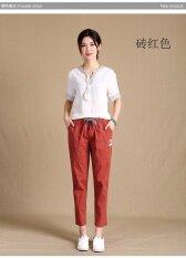 หลวมเพศหญิงส่วนบางเอวยางยืดเอวสูงกางเกงลำลองผ้าลินินเก้ากางเกง อิฐสีแดง เป็นต้นฉบับ