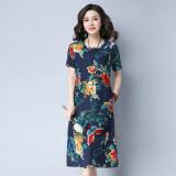 ขาย เสื้อเดรสยาวกลาง ผู้หญิง ผ้าฝ้ายลินิน พิมพ์ลาย สีน้ำเงินเข้มดอกไม้ สีน้ำเงินเข้มดอกไม้ เป็นต้นฉบับ