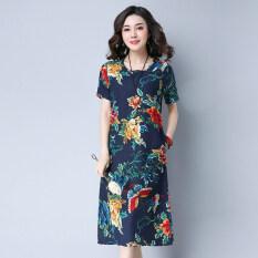 ราคา เสื้อเดรสยาวกลาง ผู้หญิง ผ้าฝ้ายลินิน พิมพ์ลาย สีน้ำเงินเข้มดอกไม้ สีน้ำเงินเข้มดอกไม้ Unbranded Generic
