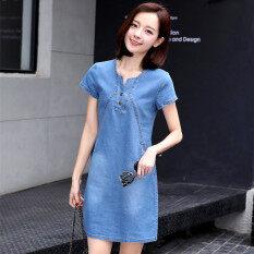 ซื้อ หลวมเกาหลีหญิงใหม่ไซส์พิเศษไซส์ใหญ่พิเศษสลิมกระโปรงยีนส์ฤดูใบไม้ผลิชุดเดรส สีอ่อน ออนไลน์ ถูก