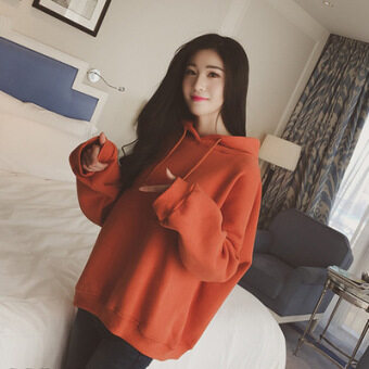 เสื้อกันหนาวเกาหลีเสื้อผ้าเบสบอลบวกกำมะหยี่คลุมด้วยผ้าเสื้อกันหนาว (สีส้ม)