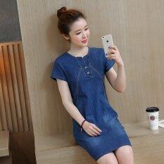 ขาย ชุดเกาหลีผ้ายีนส์ใหม่แขนสั้น สีน้ำเงินเข้ม ออนไลน์