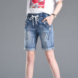ทบทวน กางเกงยีนส์ขาสั้น เอวสูง สำหรับผู้หญิง แสงสีฟ้า แสงสีฟ้า Unbranded Generic