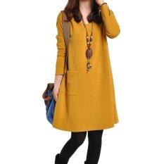 ความคิดเห็น กระโปรง Bottoming เสื้อผ้าแฟชั่น วรรณกรรมชุดเดรสสีทึบหญิงฤดูใบไม้ผลิและฤดูใบไม้ร่วง สีเหลือง