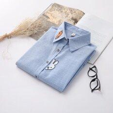 ซื้อ เสื้อขนาดเล็กสดเสื้อปักหญิงหลวม สีฟ้า Other ออนไลน์