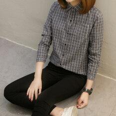 ราคา Looesn บ้านเกาหลีหญิงผ้าฝ้ายแขนยาวนักเรียน Bottoming เสื้อลายสก๊อตเสื้อ น้ำเงิน ที่สุด