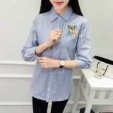 ขาย ซื้อ เสื้อเกาหลีเสื้อเชิ้ตผ้าฝ้ายหญิงแขนยาว สีฟ้าลาย