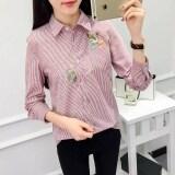 ซื้อ เสื้อเกาหลีเสื้อเชิ้ตผ้าฝ้ายหญิงแขนยาว Hong ลาย ถูก ฮ่องกง