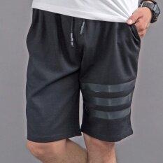 กางเกงชายหาดสบายๆกางเกงขาสั้นหลวมขนาดใหญ่ สีดำสามแท่ง ฮ่องกง