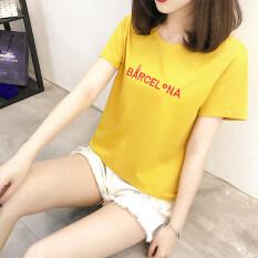 Looesn Jianyue ผ้าฝ้ายตัวอักษรปักคอกลมเสื้อยืด สีเหลือง ฮ่องกง