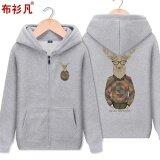 ซื้อ เสื้อมีฮู้ดซิปของผู้ชายBushanfan สไตล์เกาหลี สีเทา K707 สีเทา K707