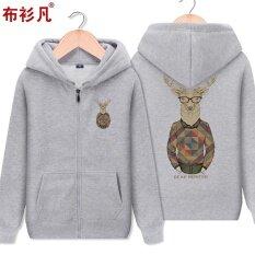 ราคา เสื้อมีฮู้ดซิปของผู้ชายBushanfan สไตล์เกาหลี สีเทา K707 สีเทา K707 ที่สุด
