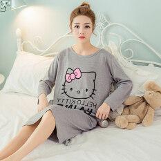 ขาย ชุดนอนสำหรับสตรีมีครรภ์สไตล์เกาหลีสำหรับฤดูร้อน Kt แมวกระโปรงสีเทาแขนยาว Kt แมวกระโปรงสีเทาแขนยาว ใหม่