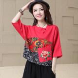 ราคา ราคาถูกที่สุด เสื้อยืดหญิง แขนสั้น ผ้าฝ้ายผสมลินิน ปักลาย ใส่สบาย ไซส์ใหญ่ สไตล์จีน สีแดง สีแดง