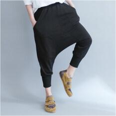 ความคิดเห็น หลวม Mm2018 เกาหลีหญิงใหม่ผอมยุบกางเกงกางเกงฮาเร็ม สีดำ