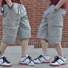 กางเกงขาสั้นผู้ชายกางเกงสบายๆเอวยางยืดหลวม สีเทา A667 เป็นต้นฉบับ