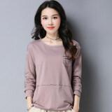 ขาย ซื้อ หลวมเกาหลีนางสาวผู้หญิงไซส์พิเศษไซส์ใหญ่พิเศษ Bottoming เสื้อใหม่แขนยาวเสื้อยืด สีเผือก